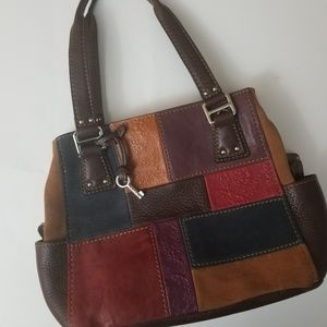 NWOT Fossil Patchwork suede and leather satchel
